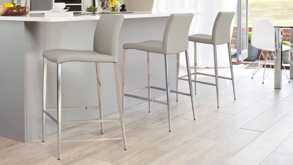 Light Grey Bar Stools with a Back Rest UK
