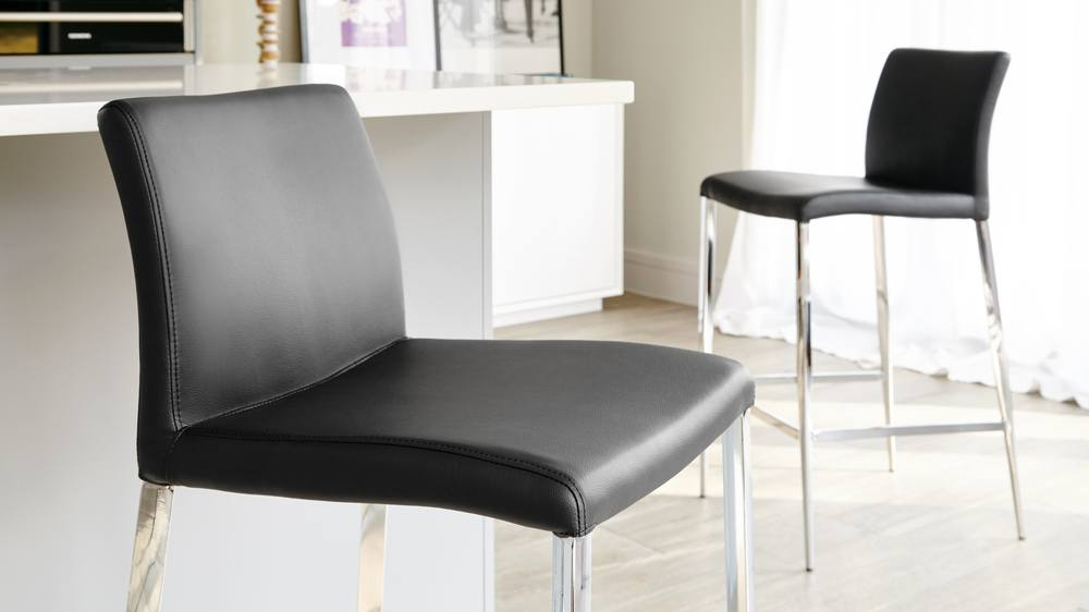 Stylish Black Leather Bar Stools