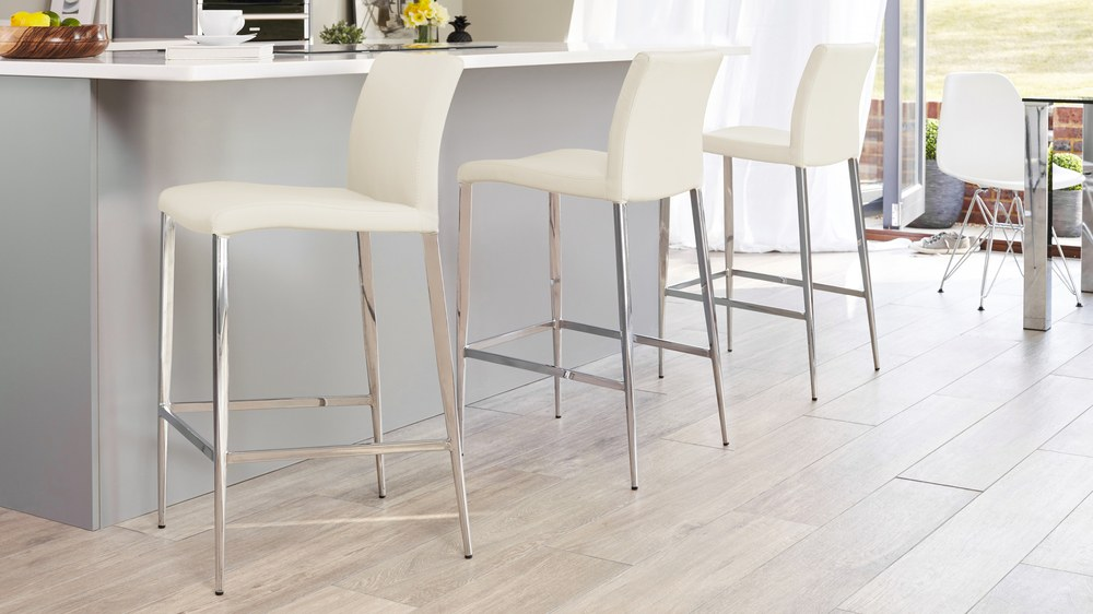 Cream and Chrome Fixed Height Bar Stools