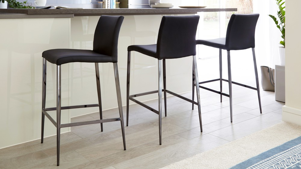 Fixed height black chrome barstools | UK Delivery