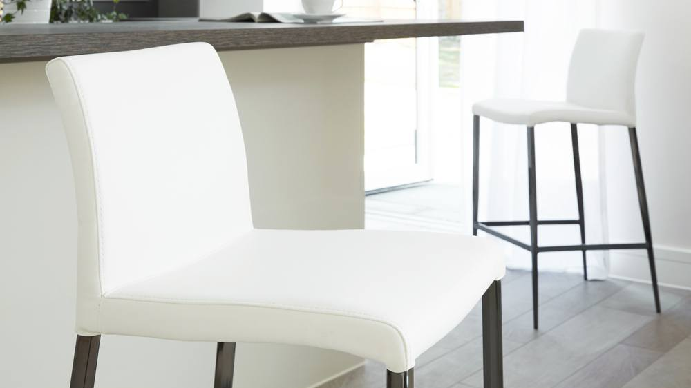 Modern White Leather Kitchen Barstools  | UK Delivery