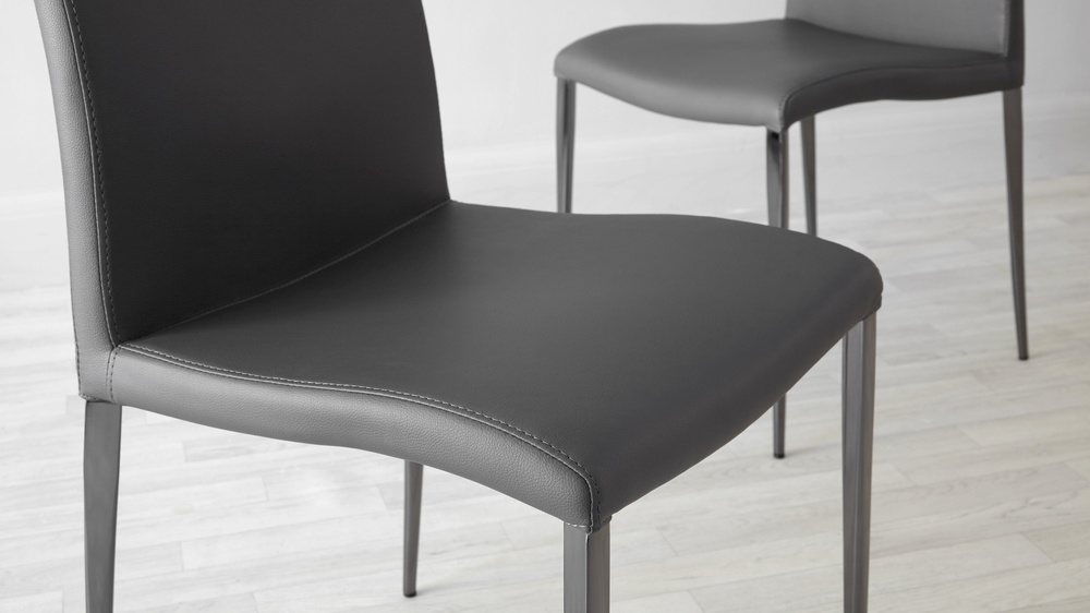 Modern Gray Leather Dining Chairs Gray Awesome Gray Leather