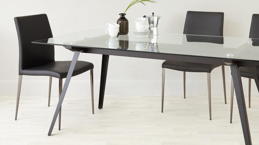 contemporary black glass dining set uk delivery