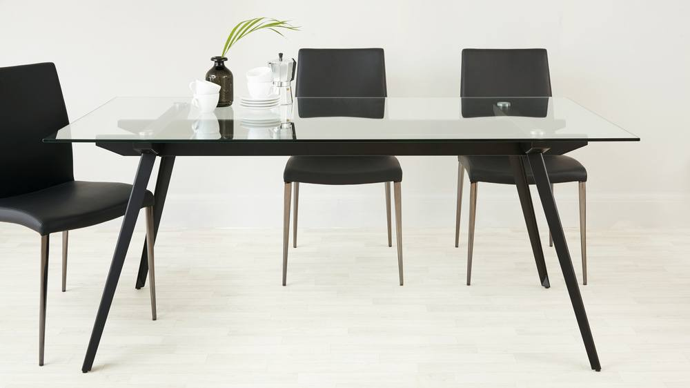 modern black chrome black dining set uk delivery