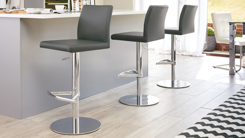 Modern Lift Bar Stool Chrome Pedestal Amp Flat Base Uk