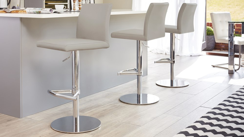 Light Grey Gas Lift Bar Stools