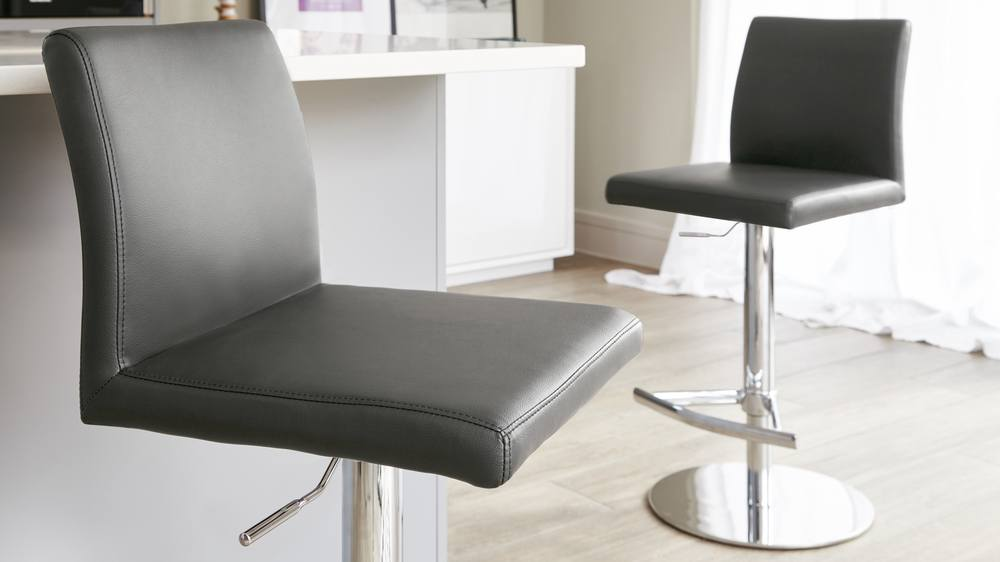 Dark Grey Gas Lift Bar Stools