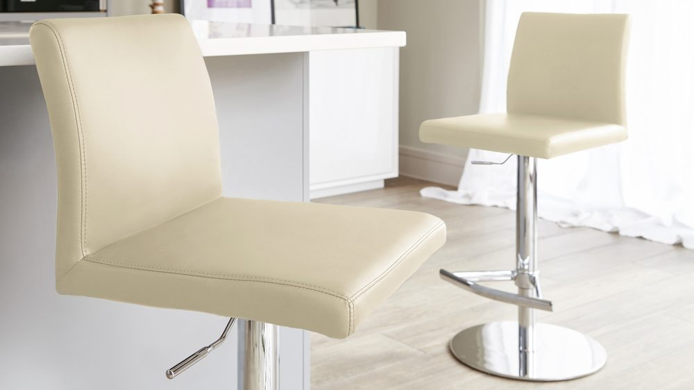 Modern Beige Bar Stool with a Chrome Base
