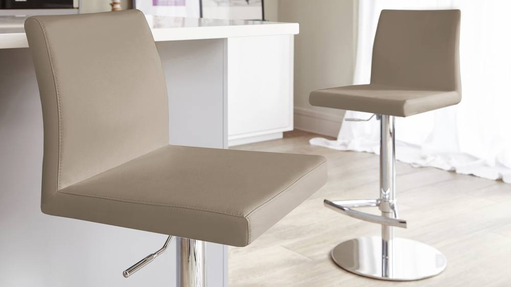 Dark beige chrome gas lift bar stools