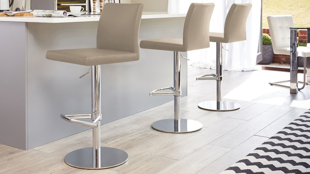 Mushroom grey chrome gas lift bar stools