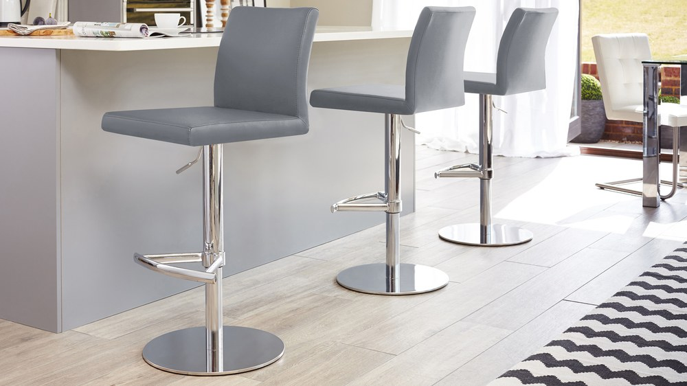 Powder grey chrome bar stools