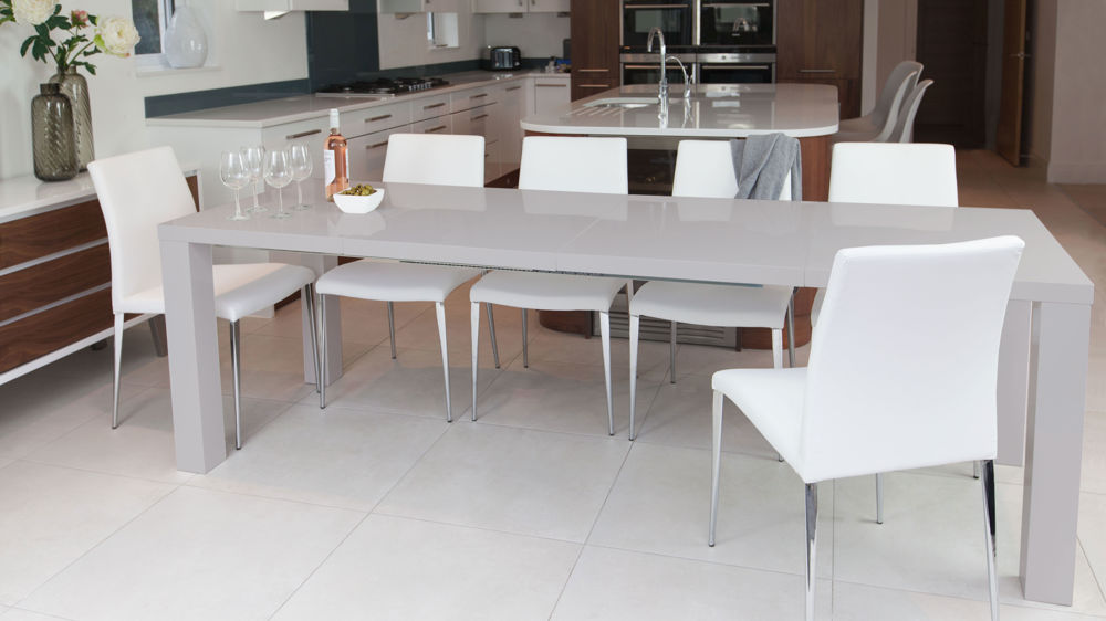Grey Gloss Extending Dining Table and White Dining Chairs