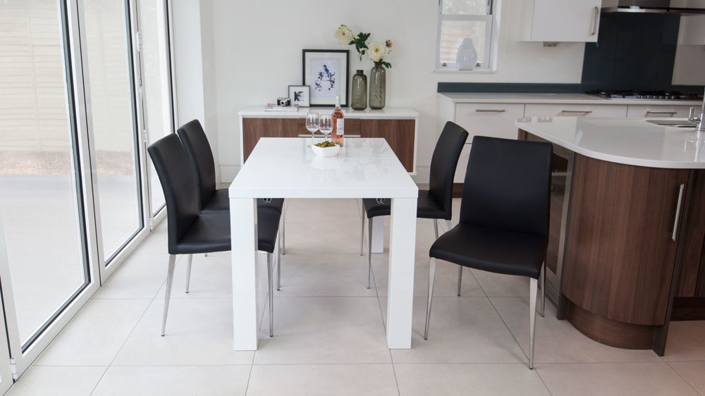 Modern Black and White Extending Dining Set