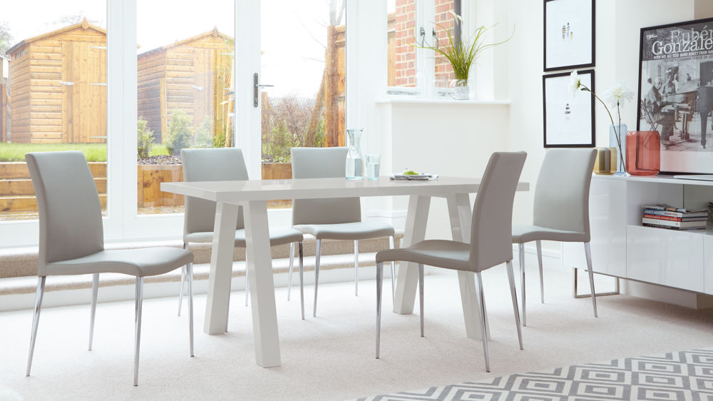 Grey Dining Chairs and Grey High Gloss 6 Seater Dining Table