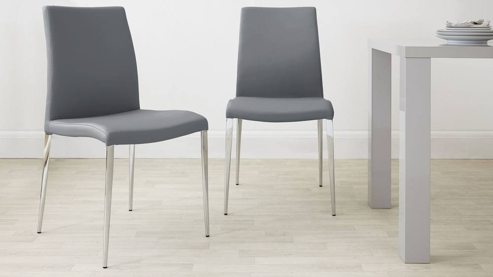 Powder grey and chrome dining chair