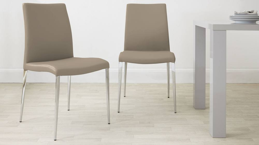 Dark beige chrome faux leather dining chairs