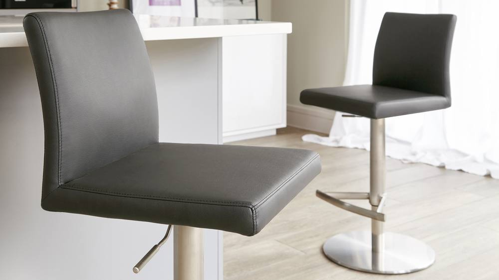 Dark Grey Bar Stool with a Back Rest