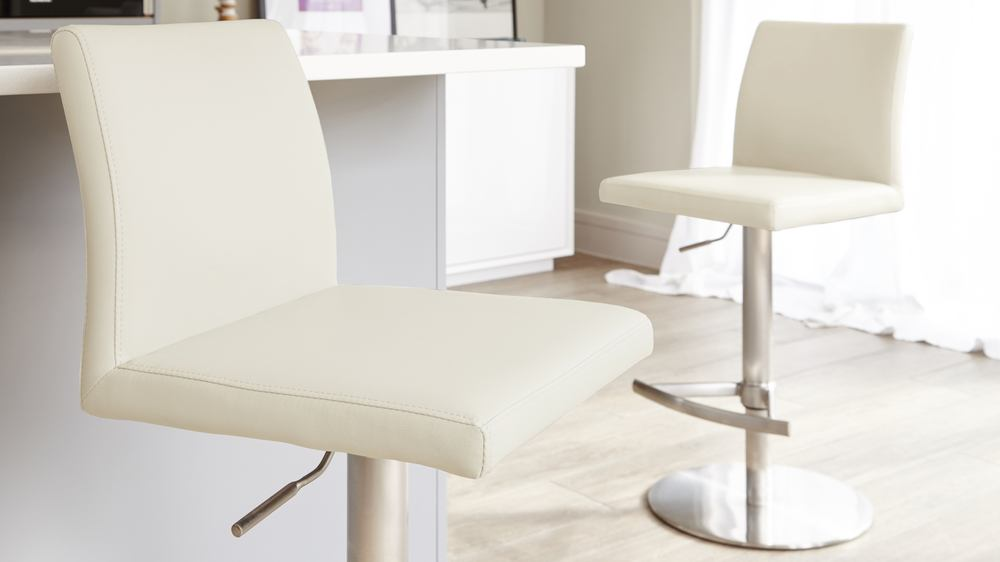 Stylish Cream Bar Stools with a Back Rest