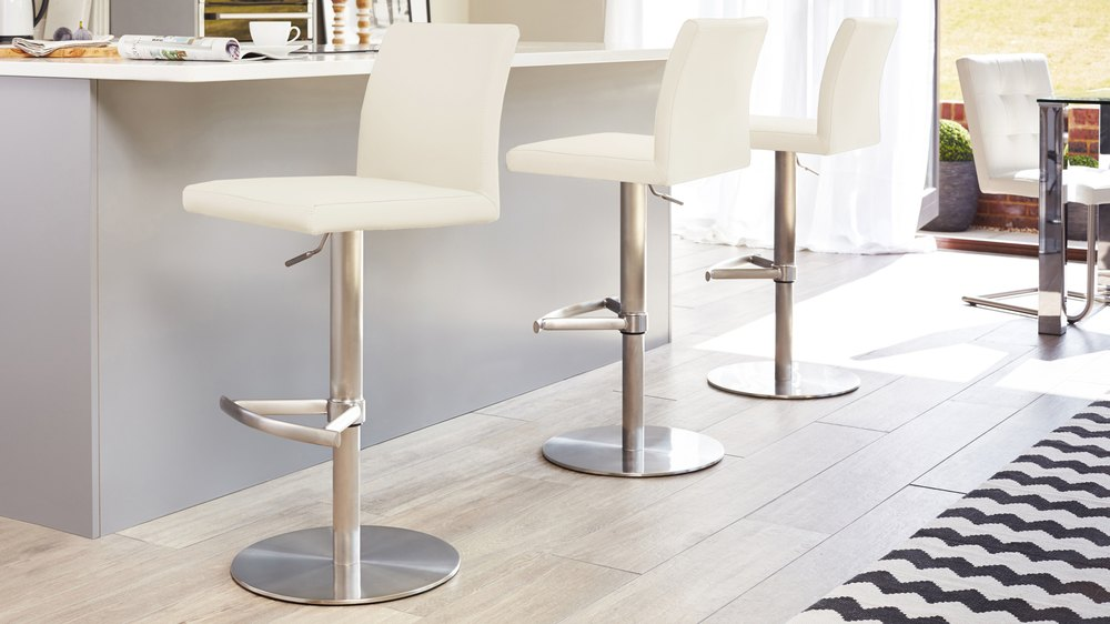 Light Cream Gas Lift Bar Stools