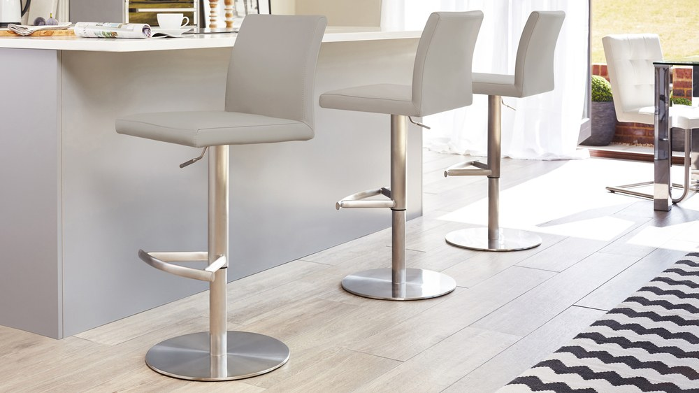 Bar Stools With A Back Rest And Brushed Metal Base