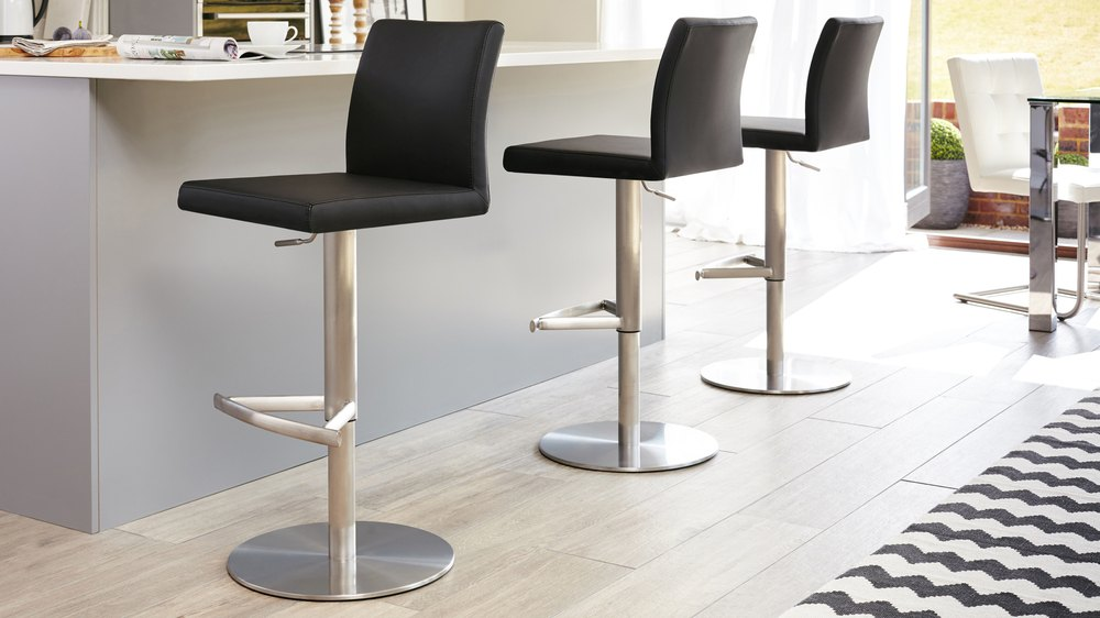 Modern Black Gas Lift Bar Stools with a Back Rest