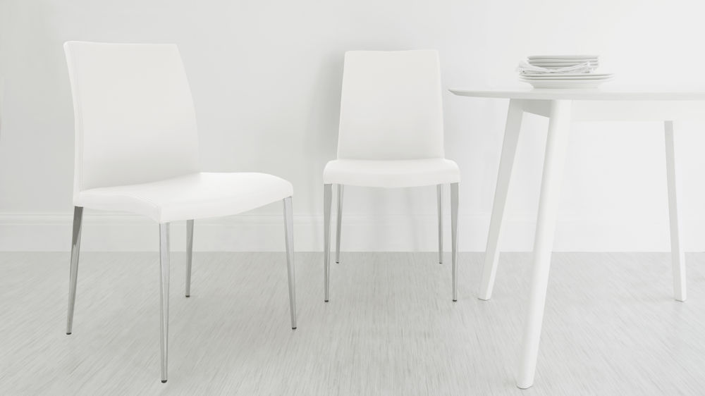 White leather dining chair UK delivery