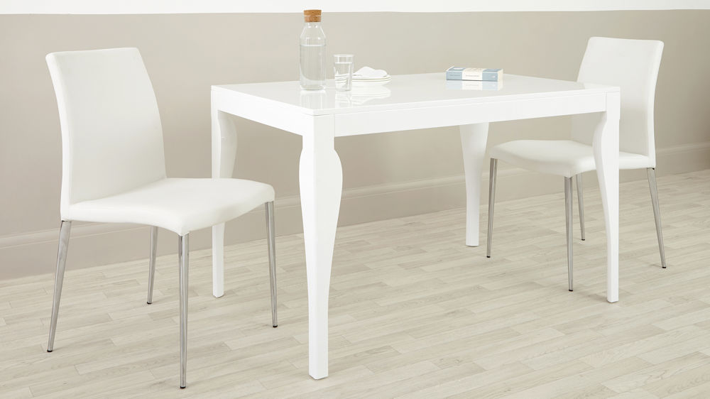 White Leather and Chrome Dining Chair