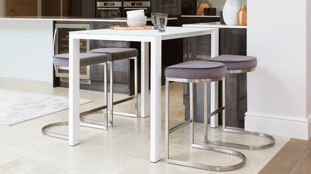 Ella Frosted White Glass Bar Table