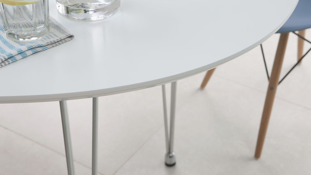 White and Chrome Oval Extending Dining Table