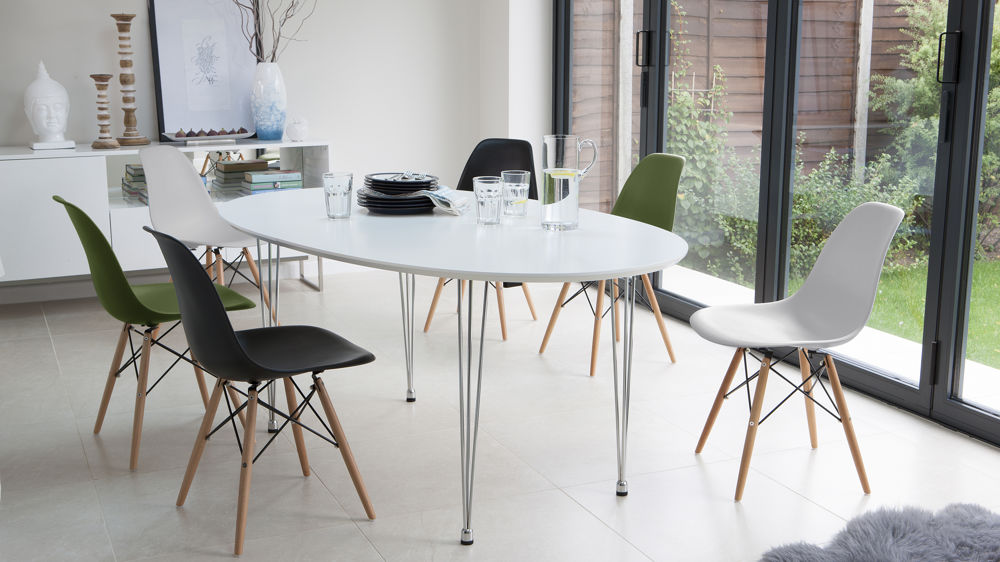 Modern Coloured Eames Extending Dining Set