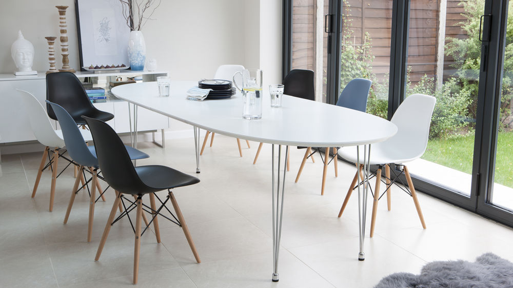 White Oval Extending Dining Table 10 Seater