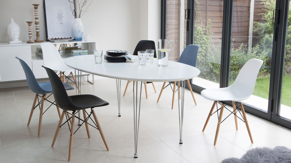Ellie White Extending And Eames Style Dining Set