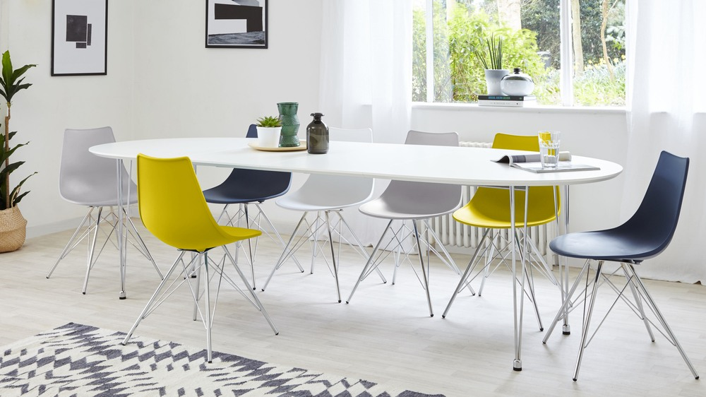 Coloured dining set seats up to ten