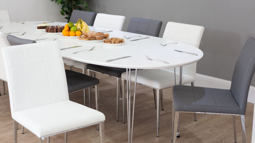 Large Matt White Extending Dining Table