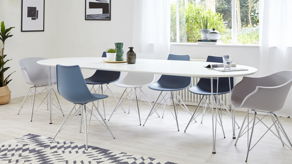 Modern White and Chrome Extending Dining Table UK