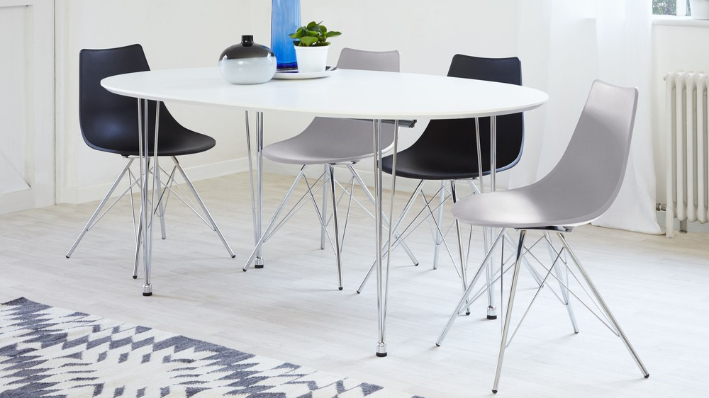 matt white oval extending dining table