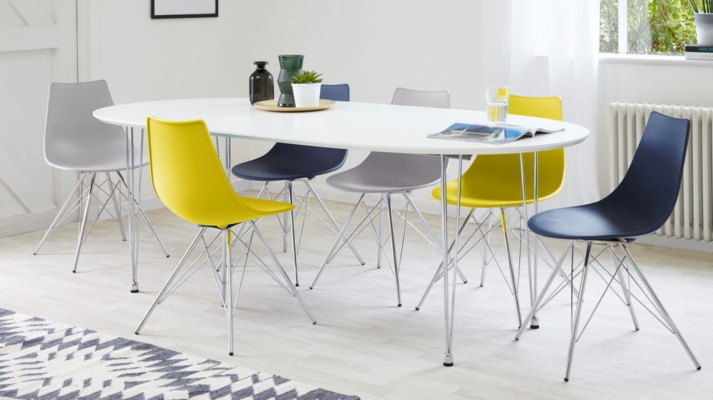 Modern White Oval Extending Table