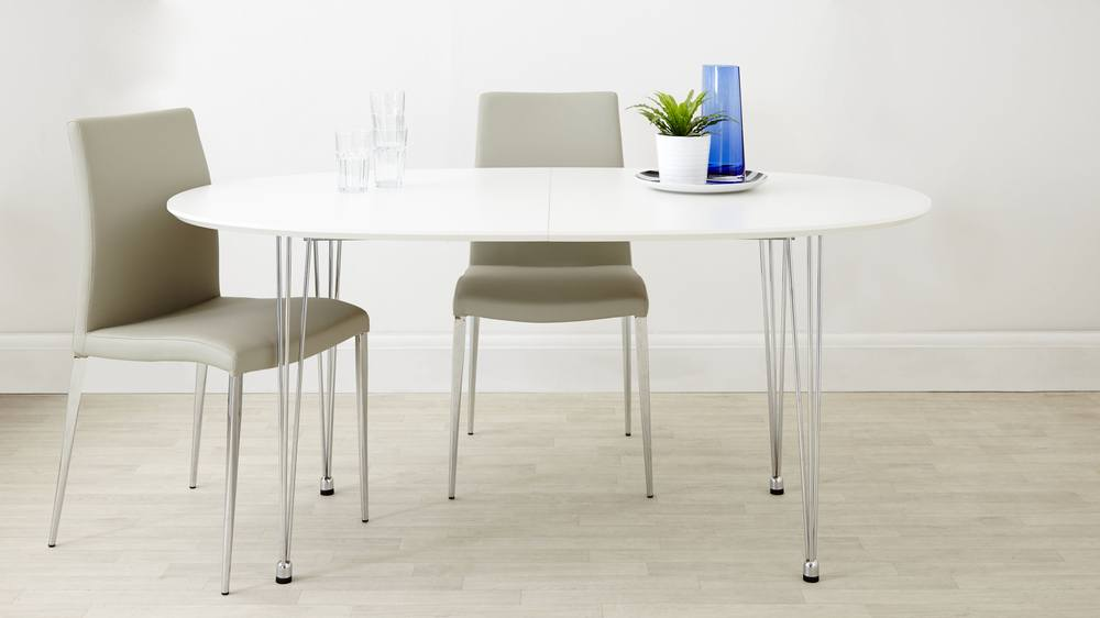 matt white round extending dining table