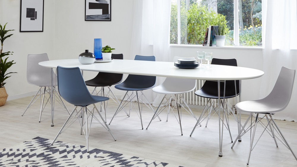 Grey Dining Chairs and White Oval Extending Dining Table