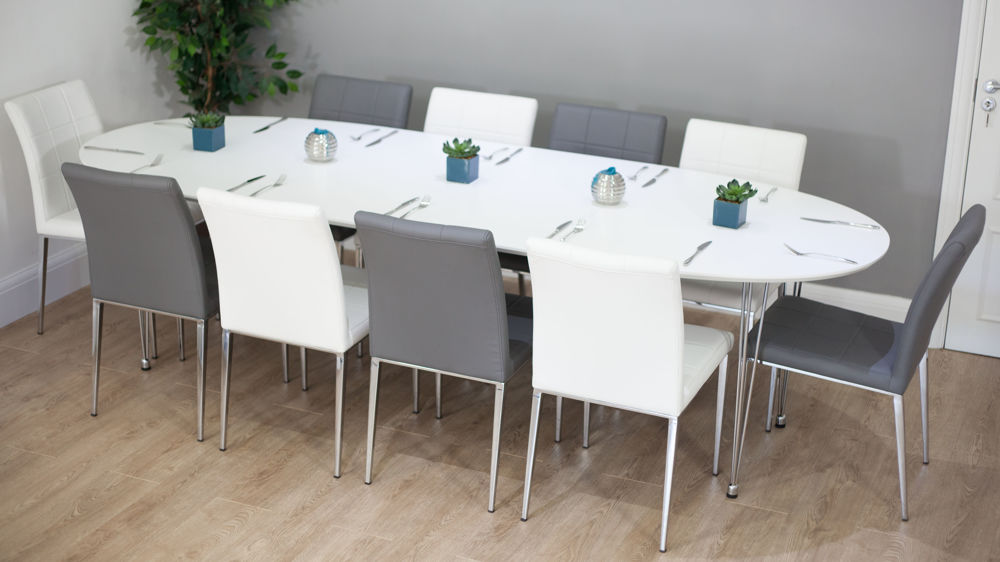 6-10 Seater White and Grey Extending Dining Set