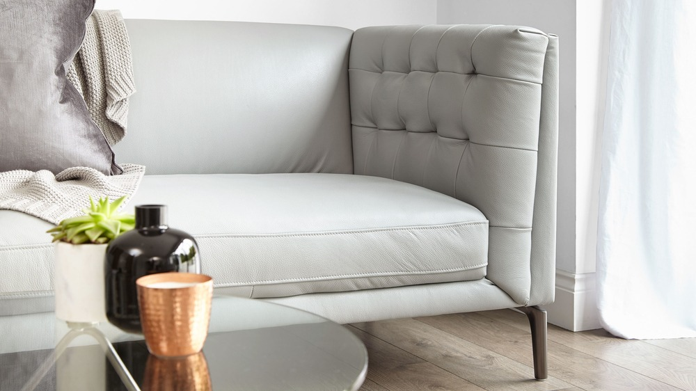modern grey leather buttoned sofa