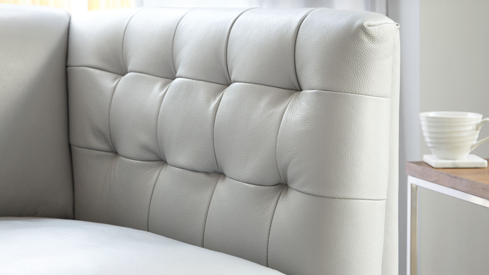modern grey leather chesterfield style sofa