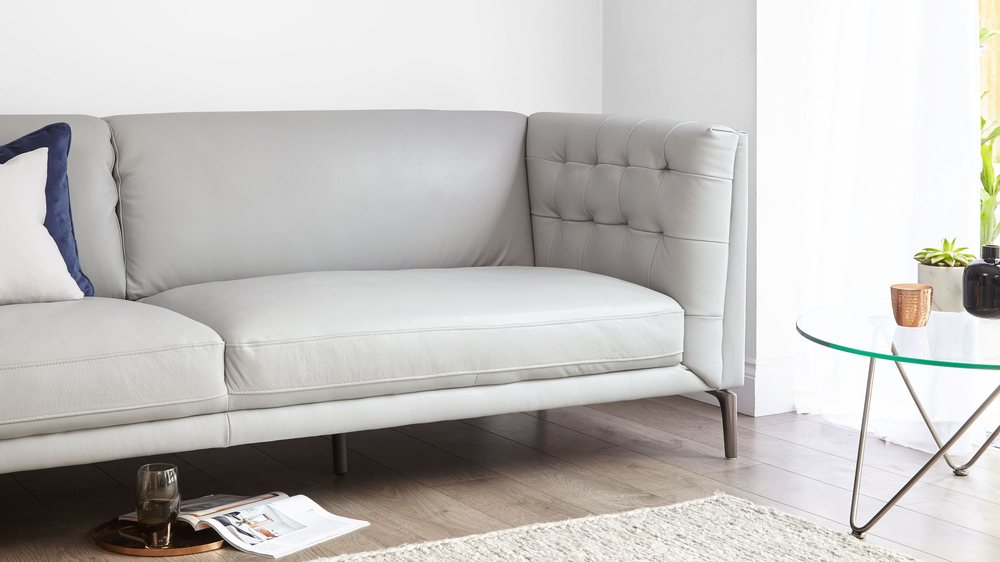 modern leather grey buttoned sofa UK
