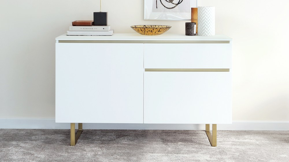 Elton Matt White and Brass Sideboard