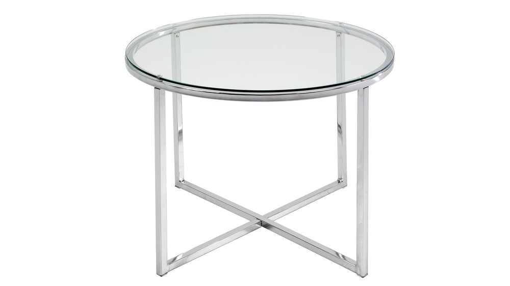 Round clear glass lamp table chrome cross frame uk clear glass and chrome side table with cross base aloadofball