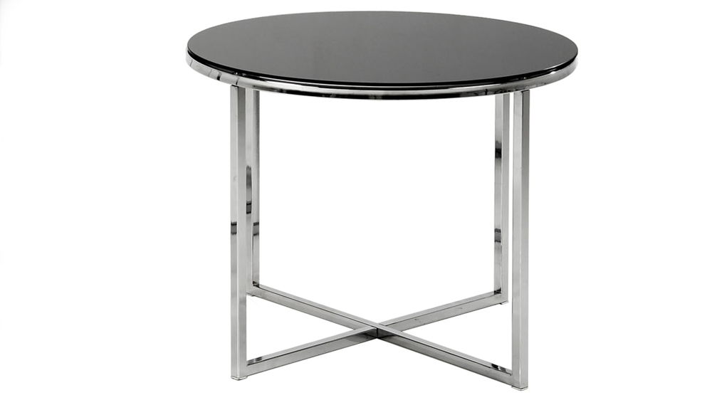Modern Black Glass Lamp Table