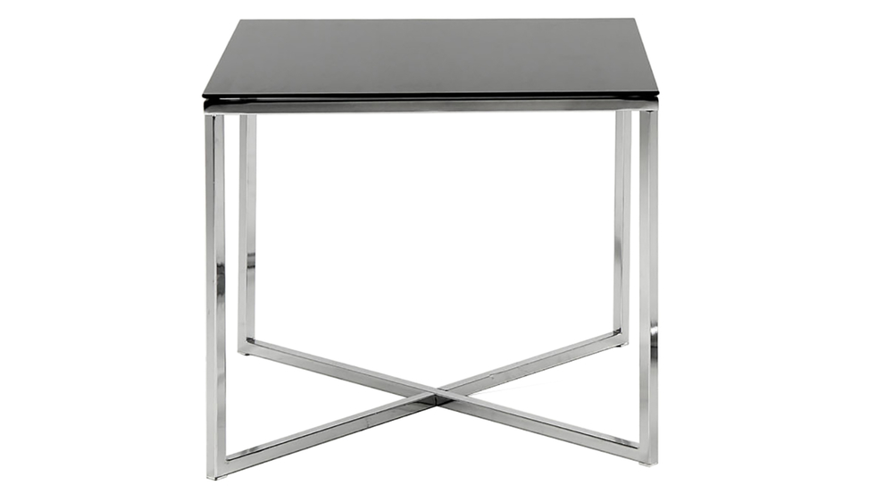 Square Black Glass Lamp Table