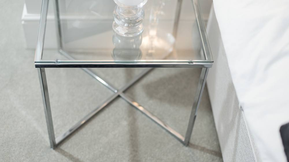 Stylish Glass And Chrome Lamp Table
