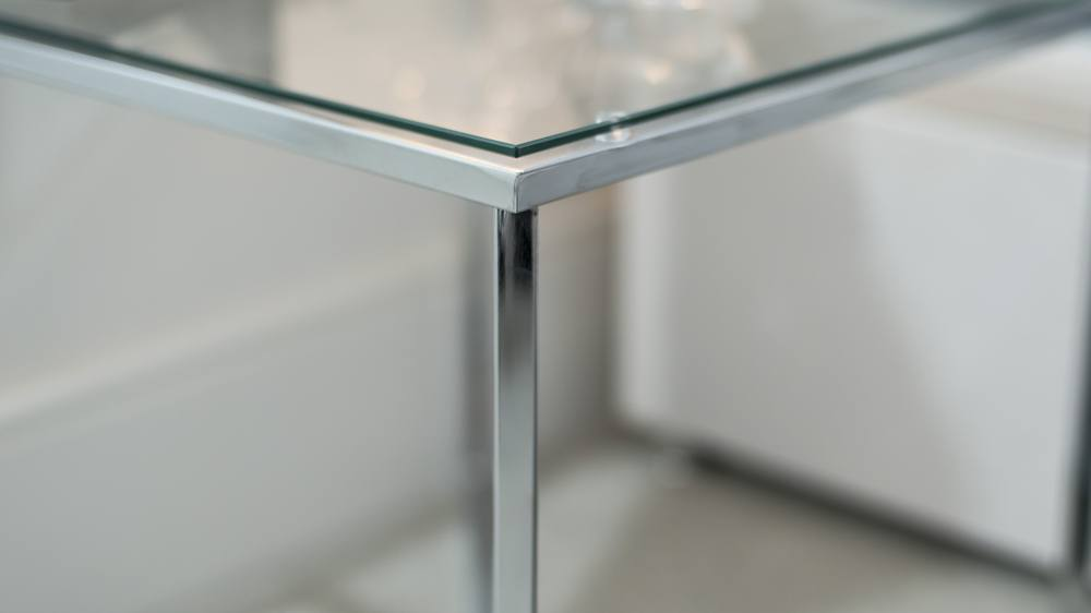 Tempered Safety Glass Lamp Table with Chrome Legs