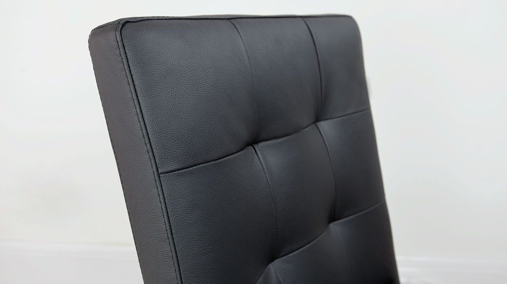 Black Leather Upholstered Dining Chair
